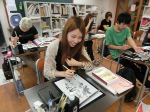 漢字かな交じりの授業  淡墨を使っての初めての作品