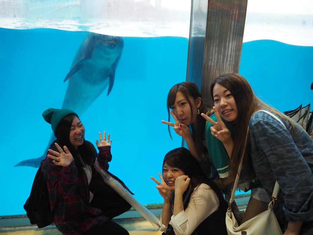 イルカと一緒に記念撮影