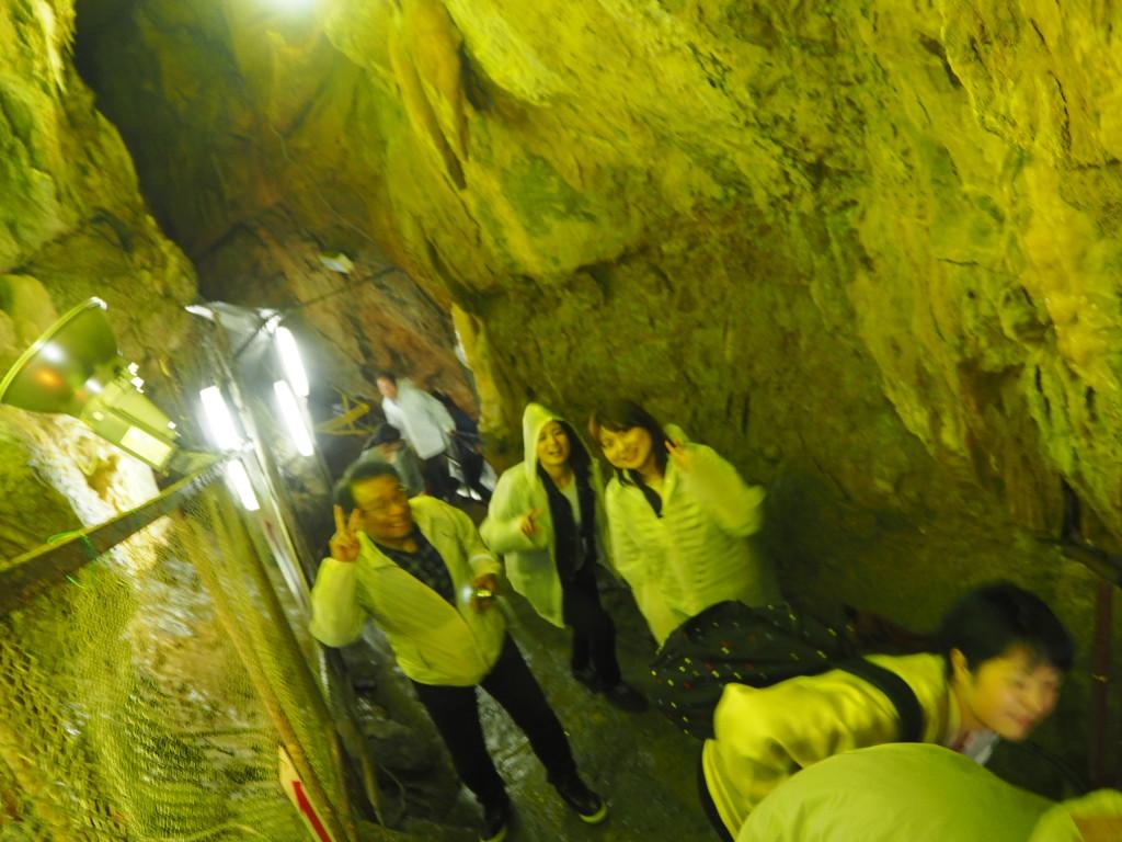 鍾乳洞探検。ライトアップによって幻想的な雰囲気が・・・